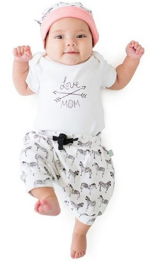 Finn & Emma I Love Mom Onesie (White Org. Cotton)I Love Daddy Onesie, Daddy, 6-9