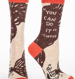Blue Q You Can Do It - Coffee, Women's Crew Socks