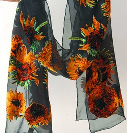 Cocoon House Silk Velvet Long Scarf - Van Gogh Sunflowers