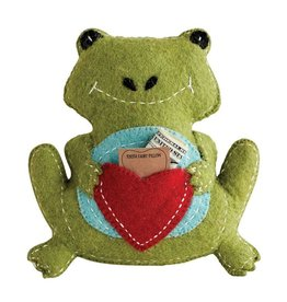 """Creative Co-op 10""""L x 11""""H Green Wool Frog Tooth Fairy Pillow"""