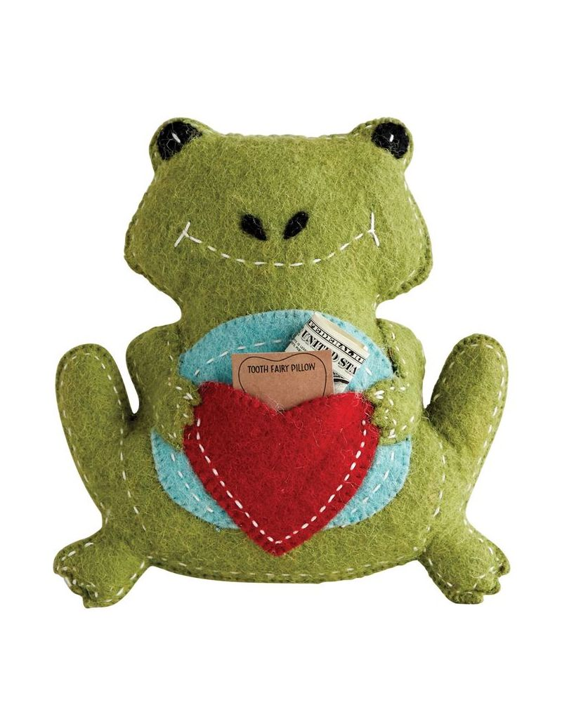 "Creative Co-op 10""L x 11""H Green Wool Frog Tooth Fairy Pillow"