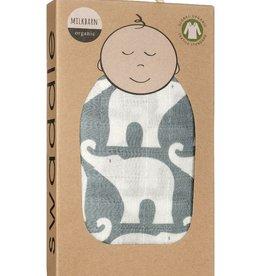 Milkbarn Swaddle Blanket - Blue Elephant