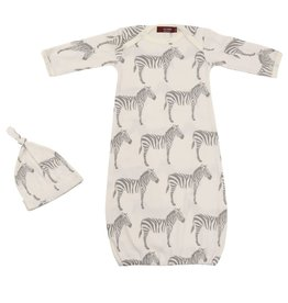 Milkbarn Newborn Gown and Hat Set - Grey Zebra, 0-3M