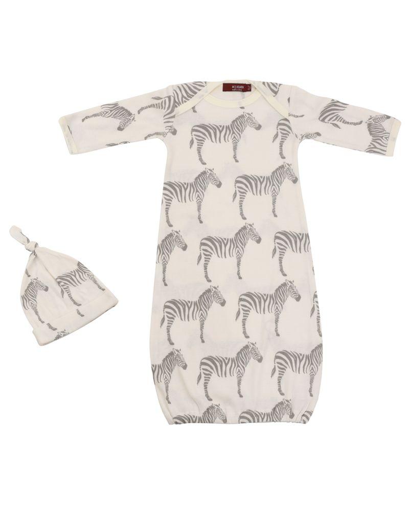 Milkbarn Newborn Gown & Hat Set - Zebra - Maria Luisa Boutique