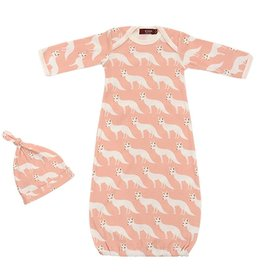 Milkbarn Newborn Gown and Hat Set - Pink Fox, 0-3M