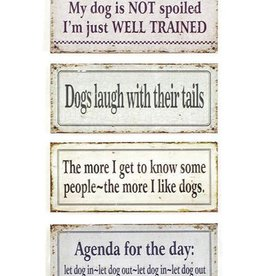 "Creative Co-op 12"" L Metal Wall Decor w/Dog Sayings"