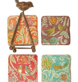 "Creative Co-op Set/4 4"" Resin Bird Coasters w/ Metal Stand"