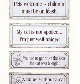 "Creative Co-op 12"" L Metal Wall Decor w/Cat Sayings"