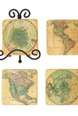 Creative Co-op Set/5 Sq Resin Map Coasters w/Metal Easel