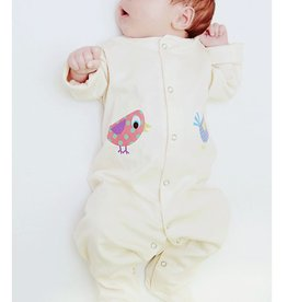 Lou & Dejlig Footies suit w Birdie Nat. Org Cotton