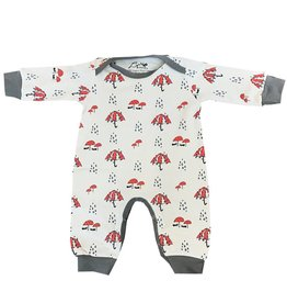 Lou & Dejlig Infant Rumpsuit with Rain Print. Organic Pima Cotton