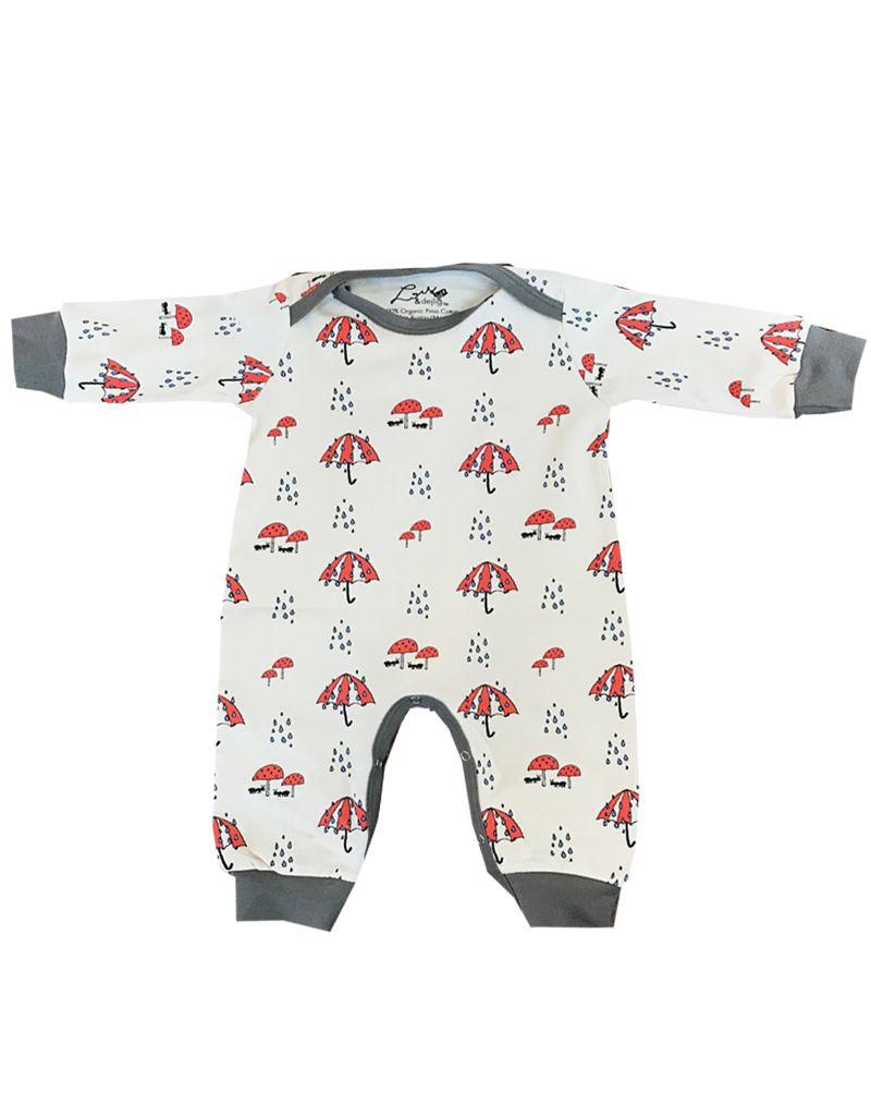 Lou & Dejlig Toddler Rumpsuit with Rain Print. Organic Pima Cotton