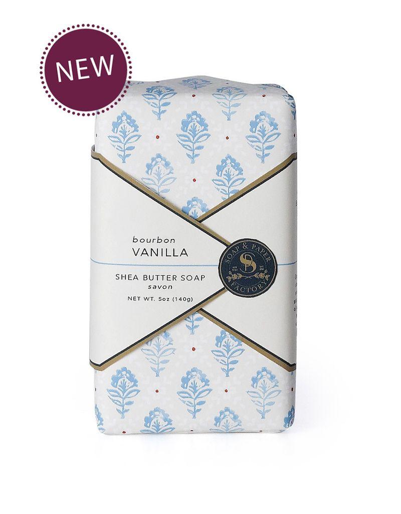 Soap & Paper Factory Block Party Bourbon Vanilla Wrapped Soap Bar NET WT. 5OZ / 140G