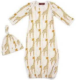 Milkbarn Yellow Giraffe Gown Hat Set