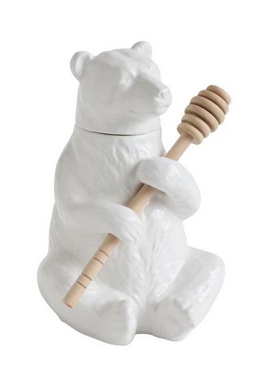 Creative Co-op Ceramic Bear Honey Pot w/ Bamboo Honey Dipper