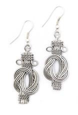Matr Boomie Buddha Knot Earrings Silver