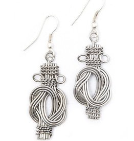 Matr Boomie Buddha Knot Earrings Silver