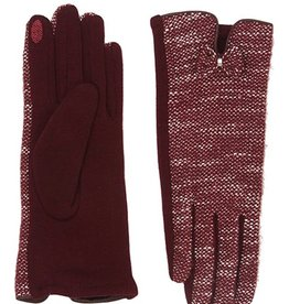 Bluebell Red Tweed Gloves With Bow