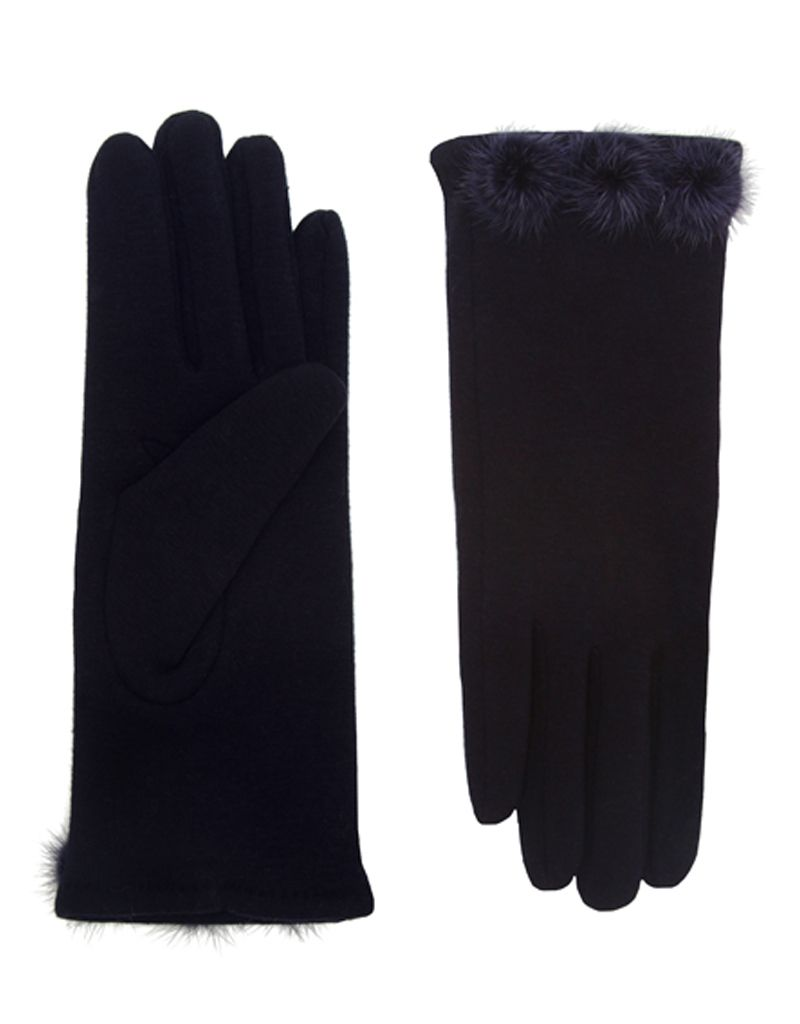 Bluebell Black Gloves with Fur Pom Poms