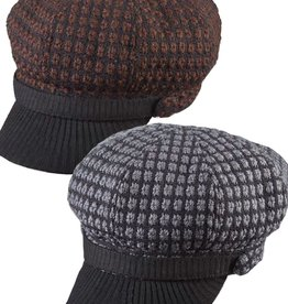 Dorfman Pacific Tweed Newsboy Knit Hat w/ Peak