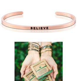 MantraBand Believe Mantra Bracelet- Rose Gold