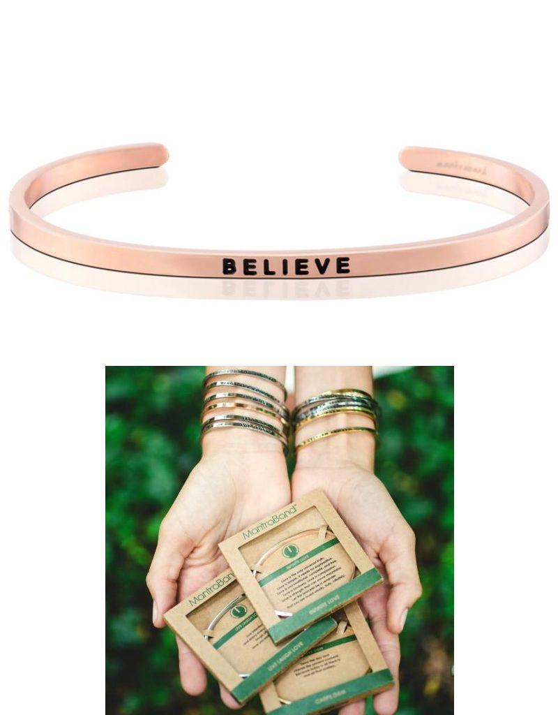 MantraBand Believe Mantra Bracelet- Rose Gold