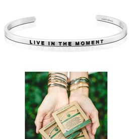 MantraBand Live In The Moment Mantra Bracelet- Silver