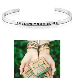 MantraBand Follow Your Bliss Mantra Bracelet - Silver