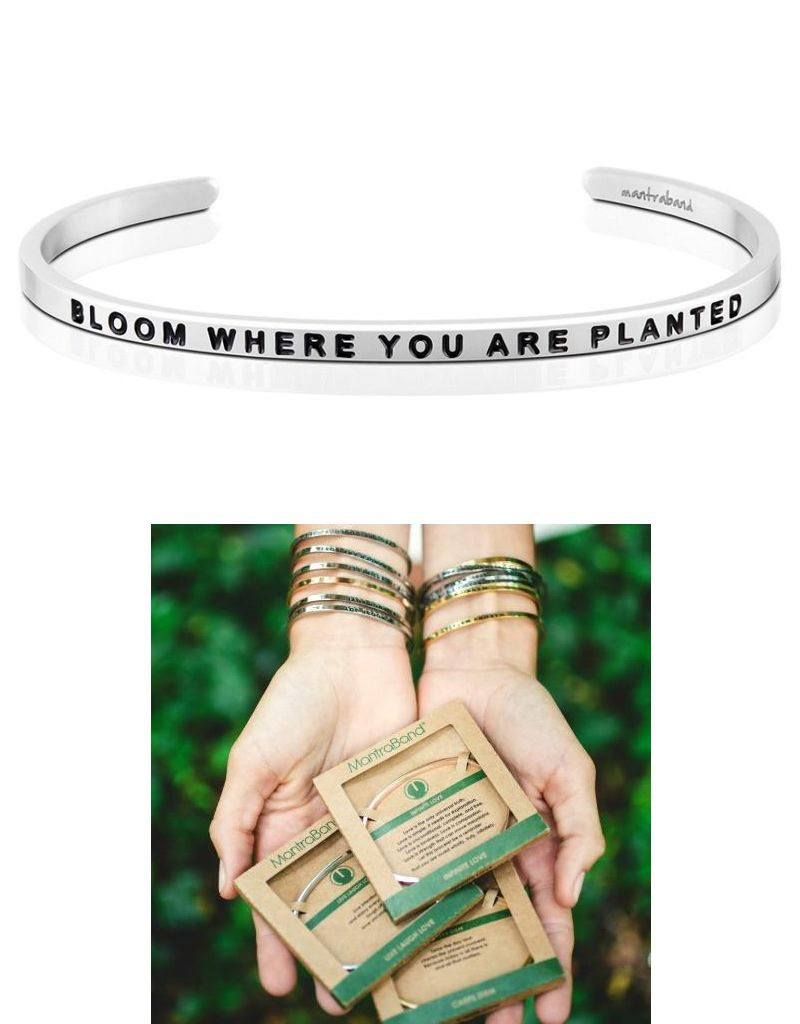 MantraBand Bloom Where You Are Planted - Mantra Bracelet - Silver