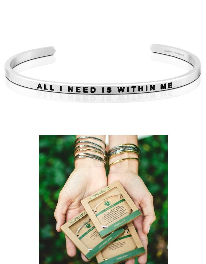 MantraBand All I Need Is Within Me - Mantra Bracelet - Silver