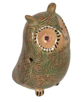Tesoros Pottery Owl  Whistle