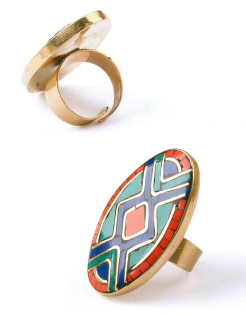 Mata Traders Mosaic Oval Ring
