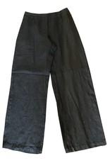 Cut Loose Flat Front Solid Linen Pant