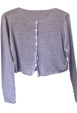 Cut Loose Long Sleeve Linen Knit Button Front Top