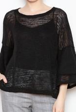 Nally & Millie Double Ruffle Lightweight Knit Sweater