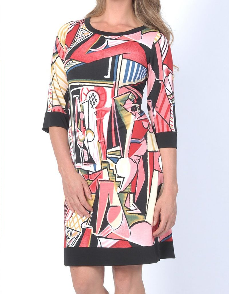 Papillon Blanc Picasso Coral Shift Dress 3/4 Sleeves