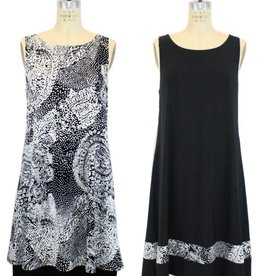 Papillon Blanc Black/White Reversible S/L Dress