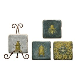 Creative Co-op Square Resin Coasters w/Bees & Metal Easel (s/4)
