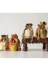 """Creative Co-op 3-1/2""""H, 7oz Clear Glass Candle in Vintage Kantha Quilt Bag"""