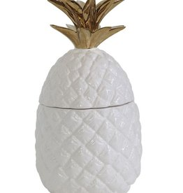 "Creative Co-op 5"" Rnd x 9-1/4""H Ceramic Pineapple Jar, White/Gold"