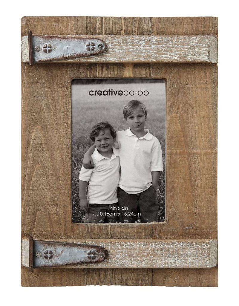Creative Co-op Rustic Wood & Metal Photo Frame
