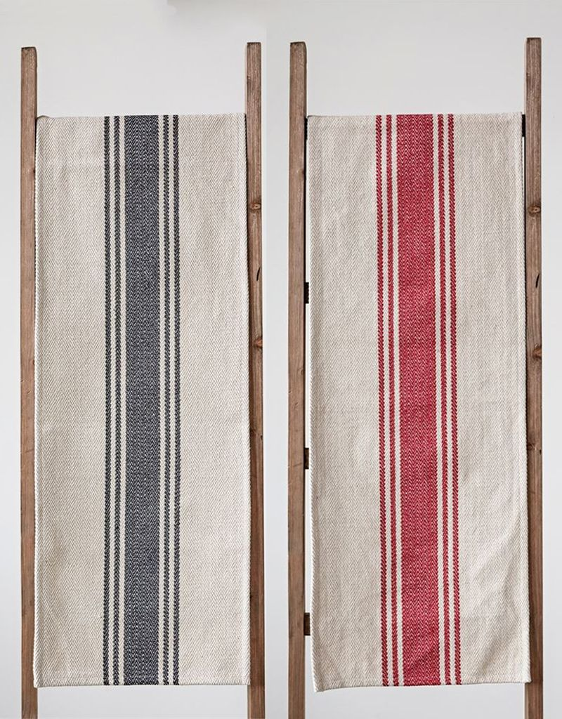 Creative Co Op Cotton Canvas Table Runner W/ Stripes