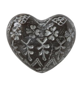 Creative Co-op Stoneware Heart, Embossed Brown/White