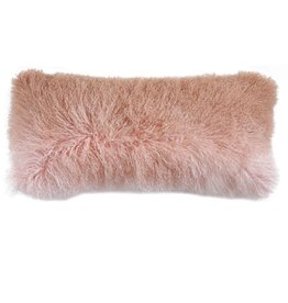 Creative Co-op Mongolian Lamb Fur Pillow, Ombre Pink