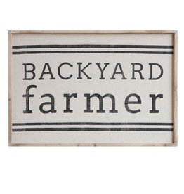 "Creative Co-op Wood Framed Wall Decor ""Backyard Farmer"""