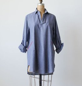 Creative Co-op Cotton Olivia Chambray Tunic