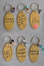 Creative Co-op Brass & Glass Bead Zori Key Chain w/ Charm & Saying