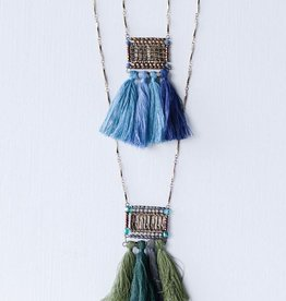 Creative Co-op Metal & Brass Cassey Necklace w/ Cotton Tassel
