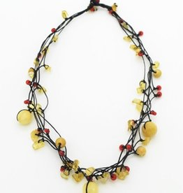 Nusantara Wax Linen Stone Chip Necklace