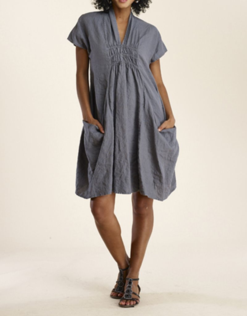 Luna Luz Big Pockets Linen Dress